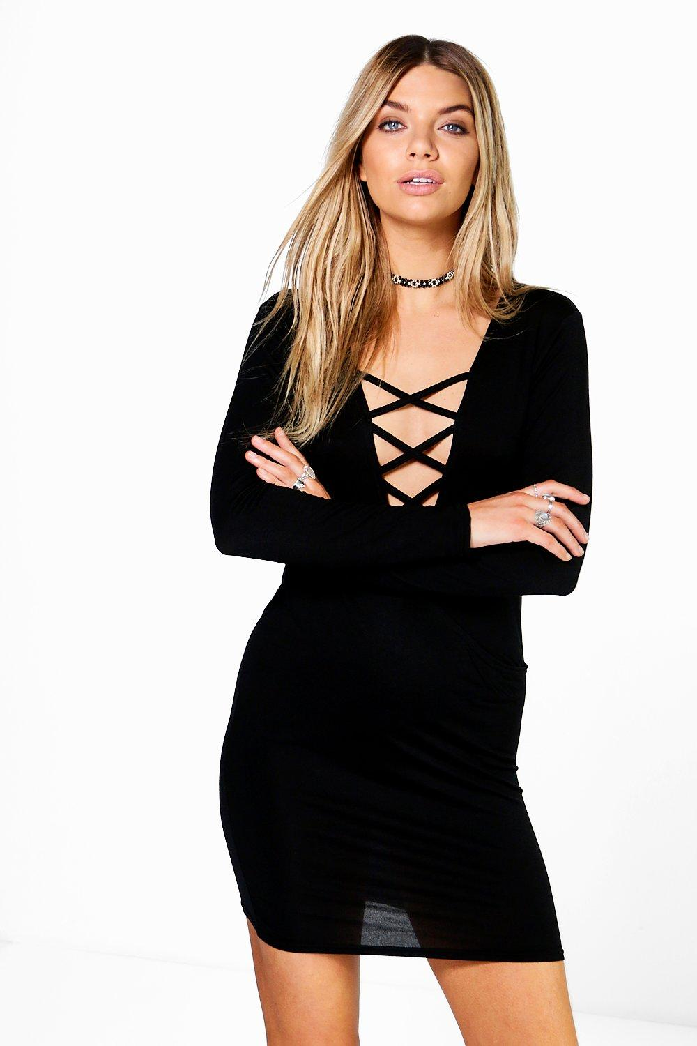 Polly Lace Up Detail Wrap Dress
