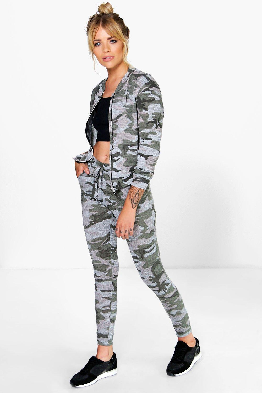 Anna Camo Jogger & Bomber Knitted Loungewear Set