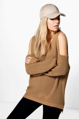Sarah Cold Shoulder V Neck Oversized Jumper