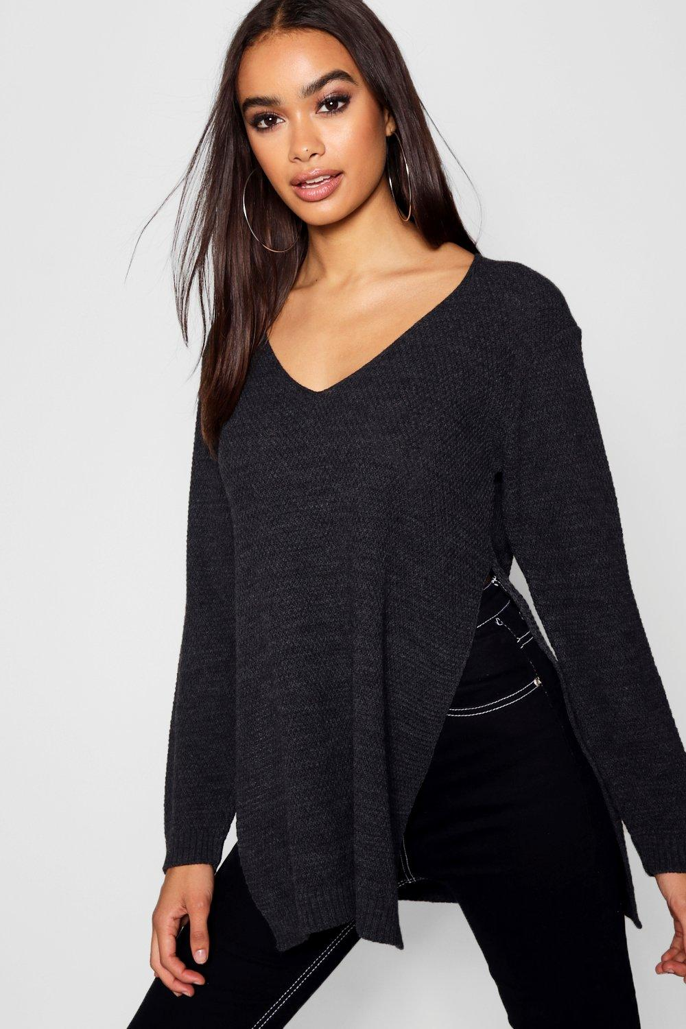 Emilia V Neck Side Split Tunic Jumper