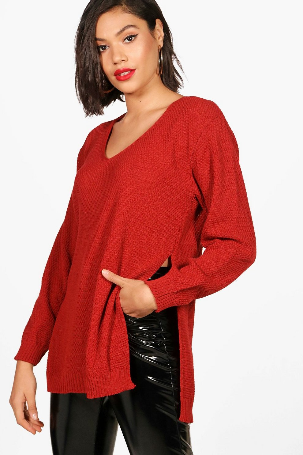 Boohoo V Neck Side Split Tunic Jumper