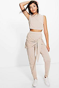 Sonia Tie Waist Legging & Crop Knitted Lounge Set