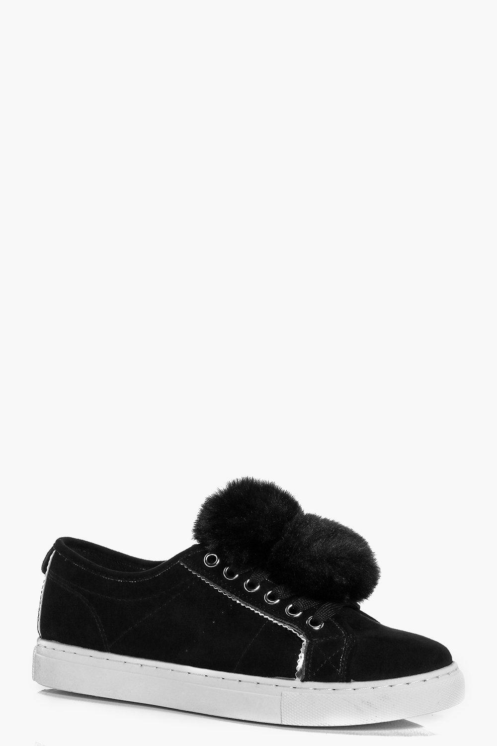 Kara Pom Pom Trim Lace Up Trainer