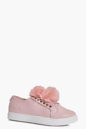 Nadia Pom Pom Trim Lace Up Trainer