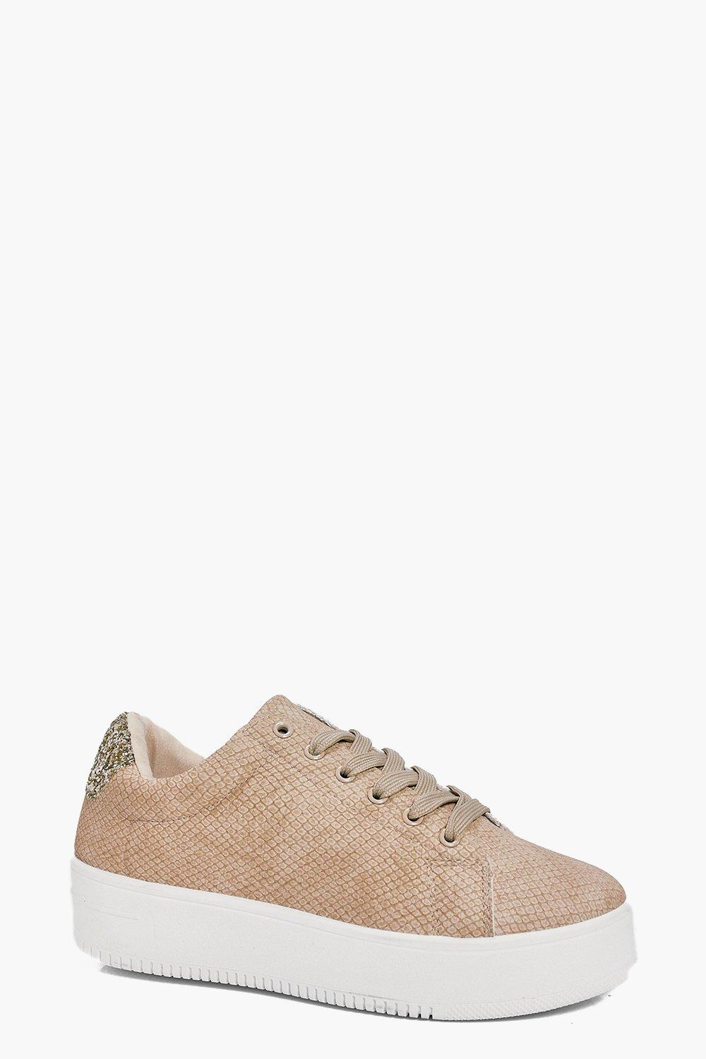 Ivy Snake Print And Glitter Lace Up Trainer