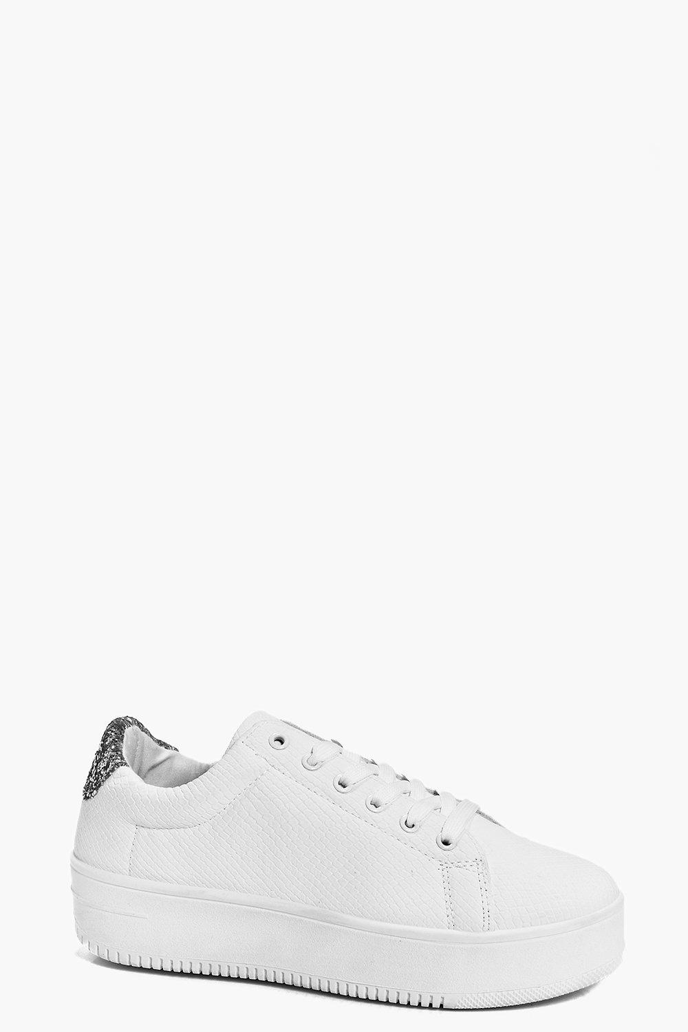 Snake Print And Glitter Lace Up Trainer white