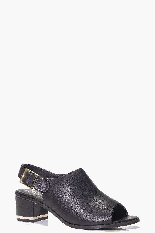 Peeptoe Low Heel Shoe black