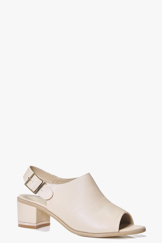Peeptoe Low Heel Shoe nude