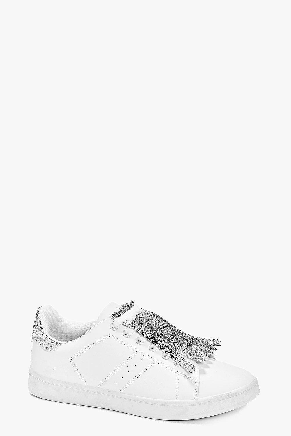 Fringe Front Lace Up Trainer - white