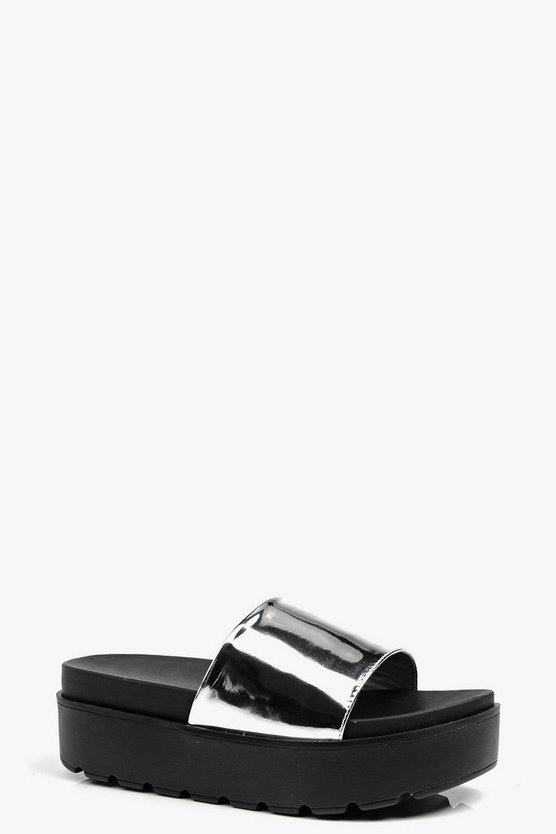 Eve Metallic Platform Slider