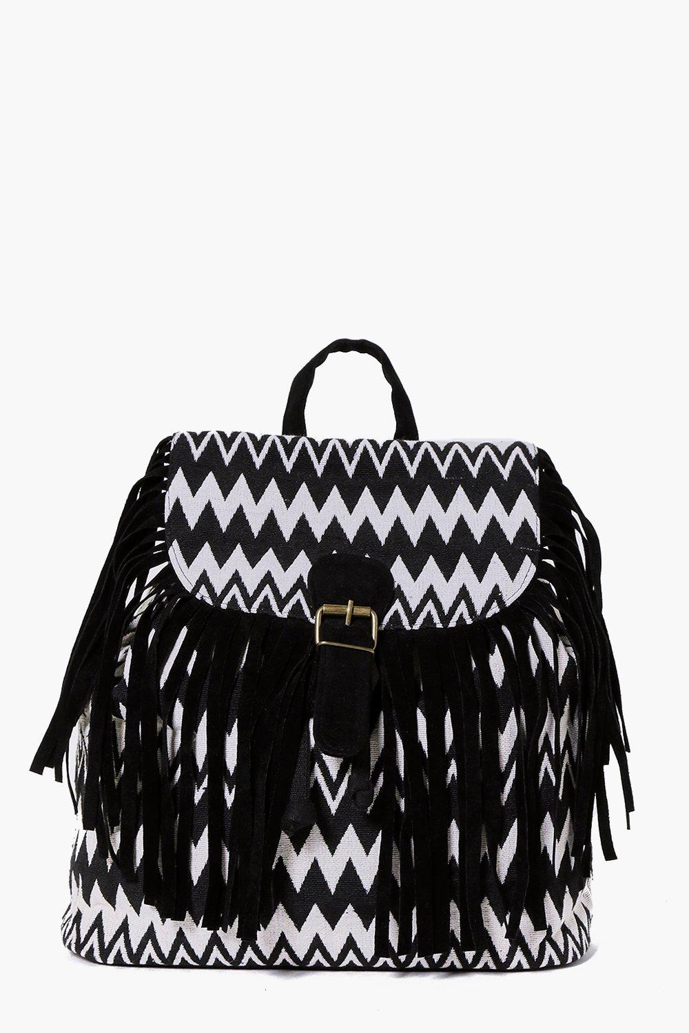 Product photo of Zig zag tassel mono backpack black