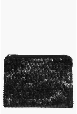 Leah Mermaid Sequin & Embellished Black Clutch