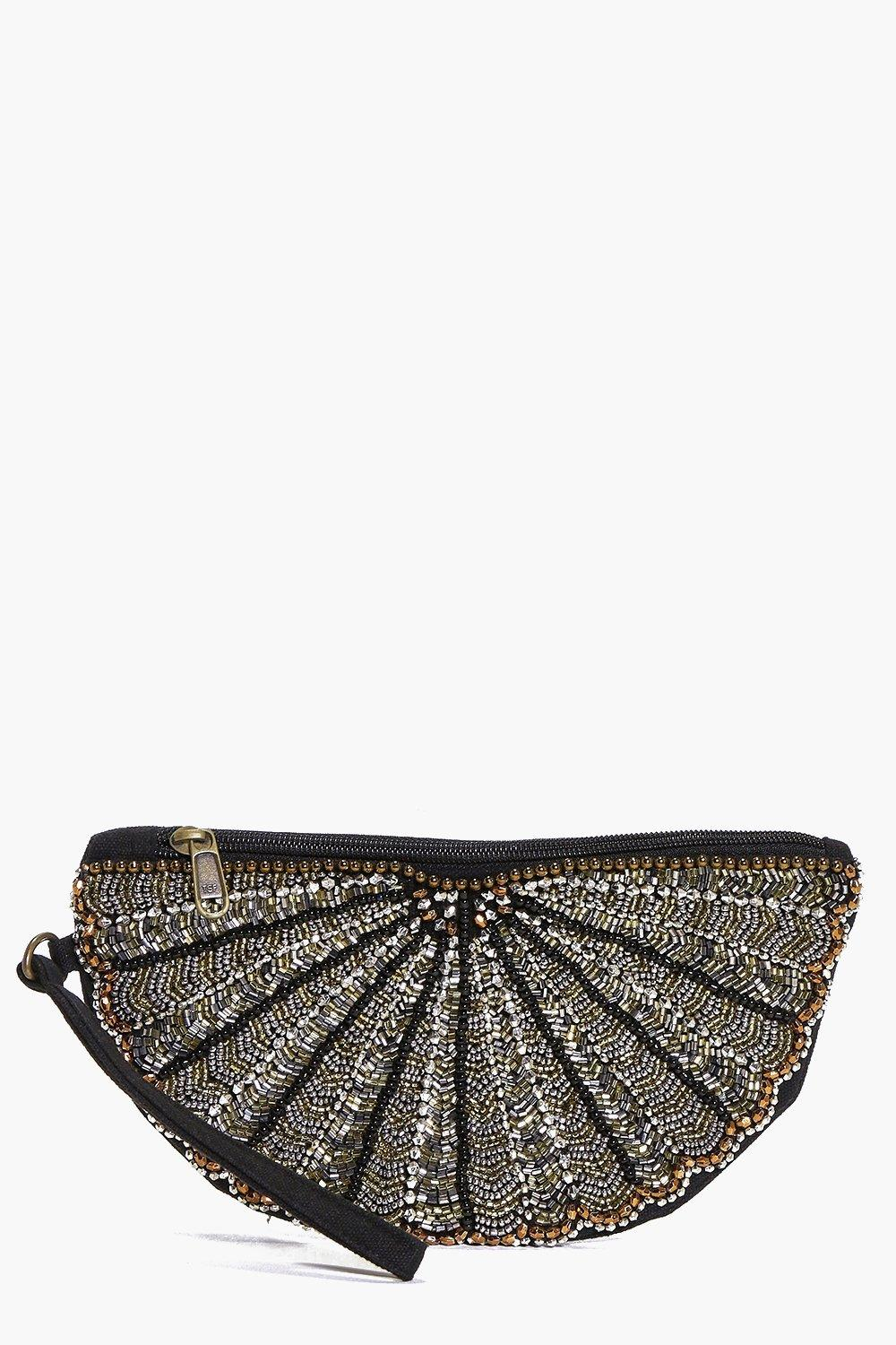 Embellished Half Moon Clutch Bag black