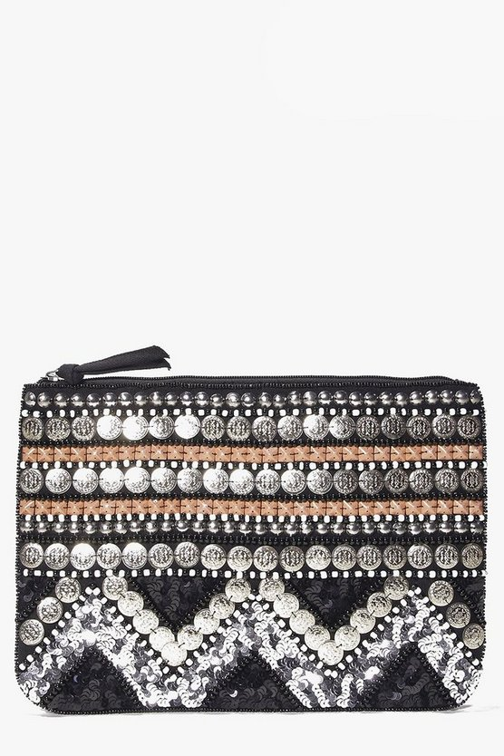 Elena Embellished Beaded Clutch Bag