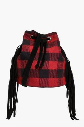 Eva Red Check Fringe Cross Body Bag