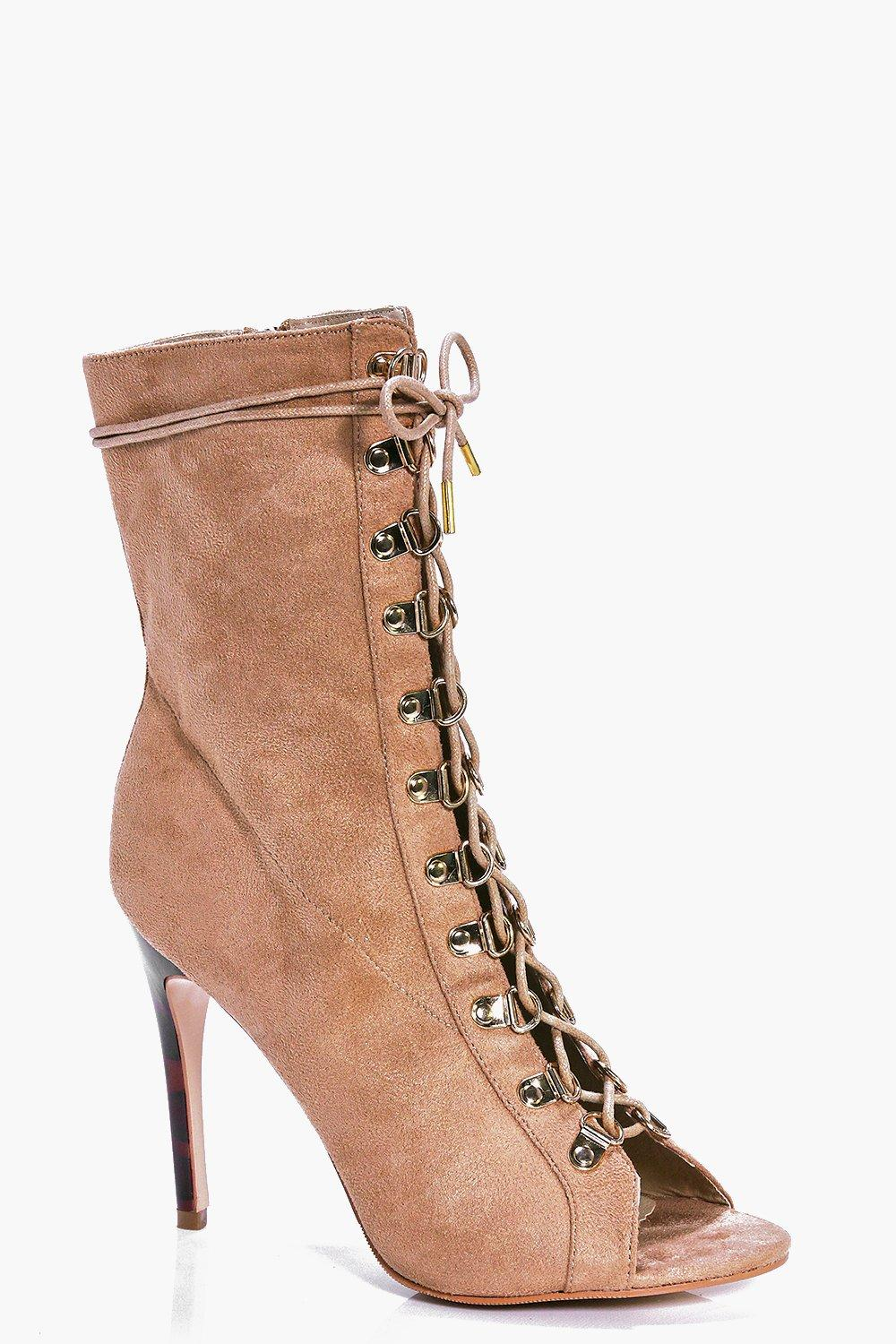 boohoo womens abbie high ankle lace up shoe boot ebay