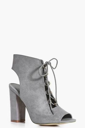 Ivy Lace Up Peeptoe Block Heel Shoe Boot