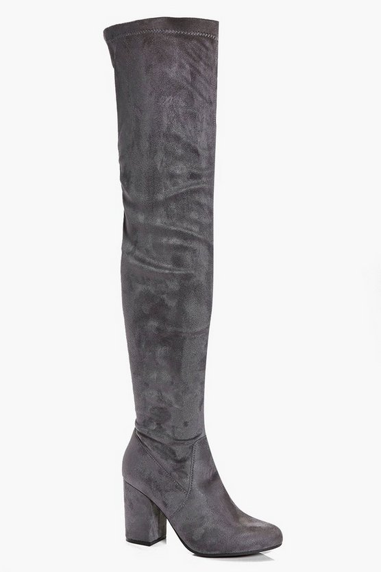 Eloise Block Heel Thigh High Boots