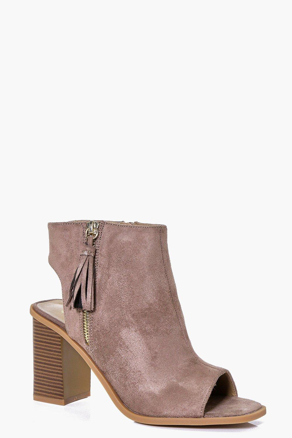 Square Toe Peeptoe Fringe Side Shoe Boot taupe