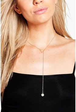 Bella Skinny Plunge Pearl Necklace