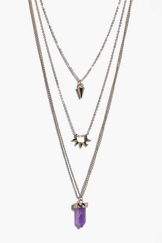 Belle Crystal Pendant Skinny Layered Necklaces