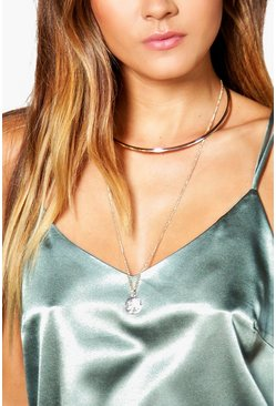 Amy Long Stone Pendent Necklace And Choker