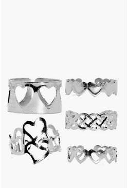 Lexi Love Heart Adjustable Mixed Ring Pack