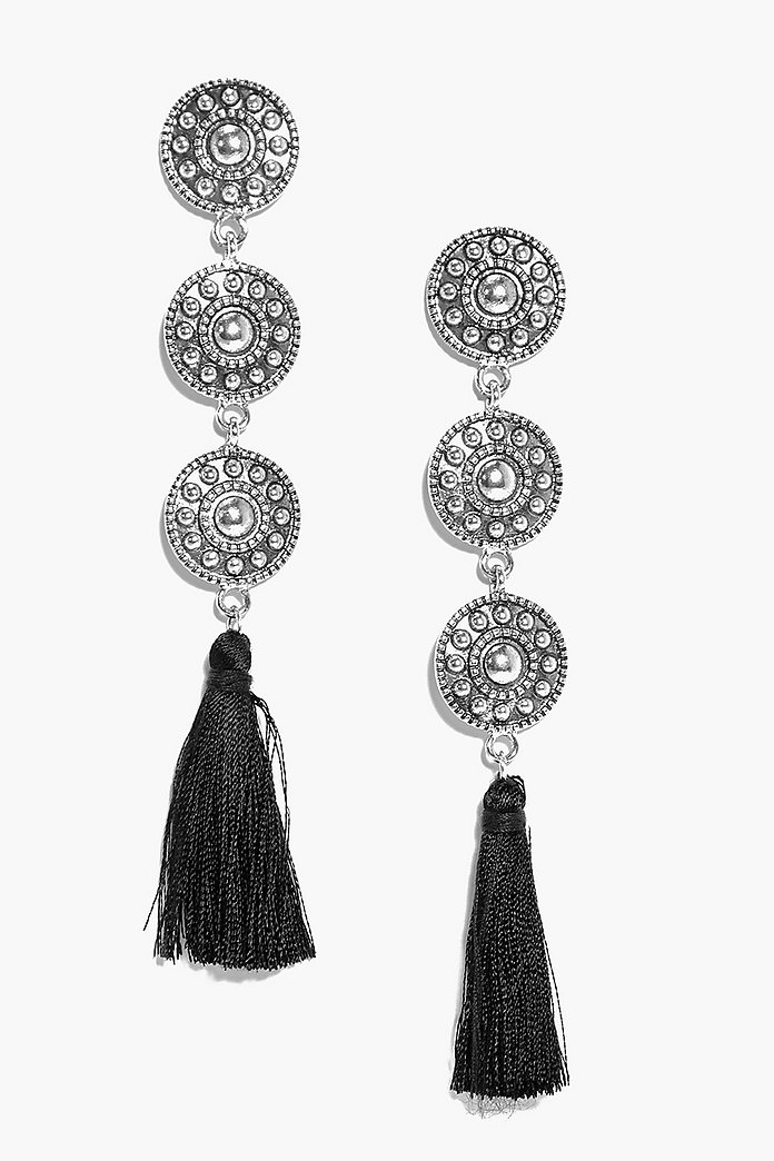 Eva Coin And Tassel Drop Earrings