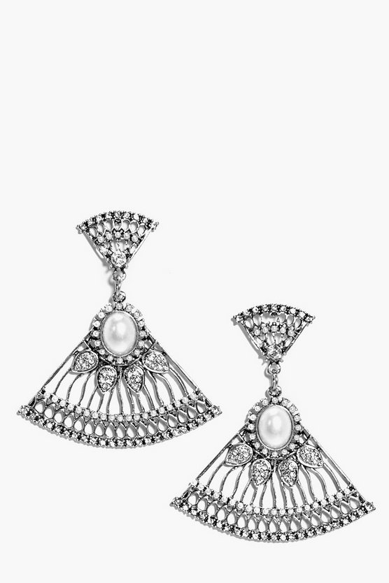 Ava Pearl And Diamante Drop Earrings