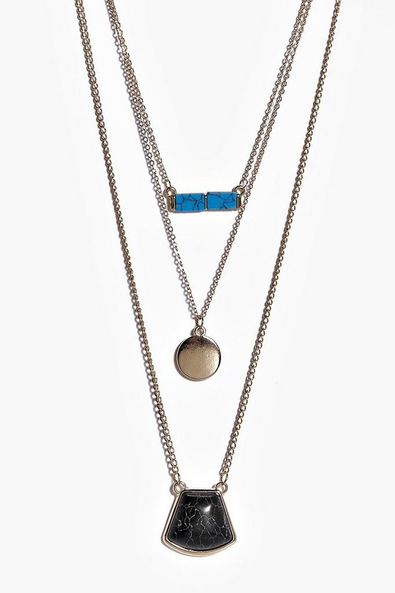 Kara Multi Stone Layered Skinny Necklace
