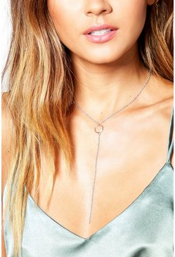 Elena Circle Loop Skinny Plunge Necklace