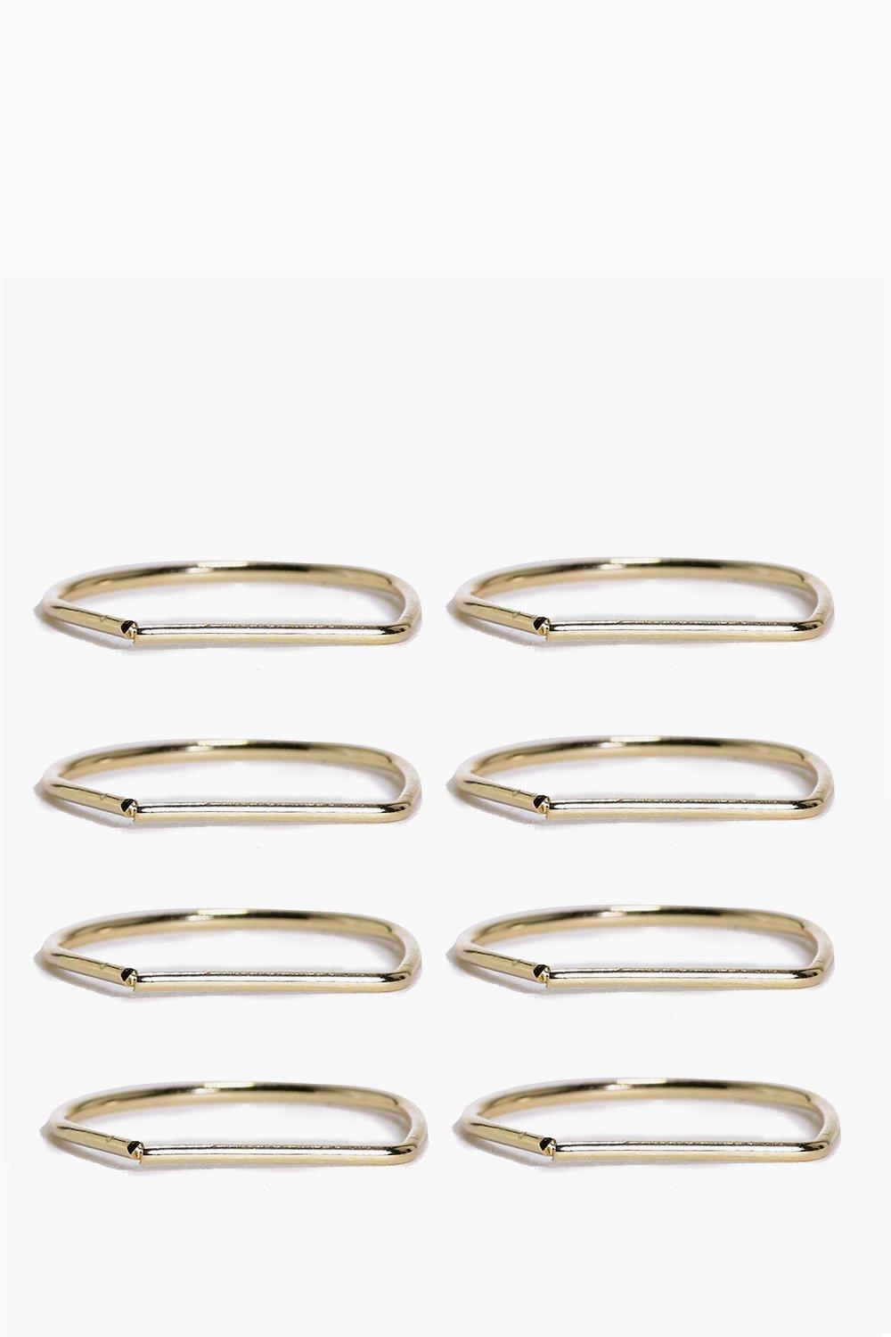 Alicia 8 Piece Skinny Geo Ring Pack