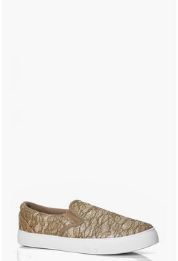 Heidi Lace Effect Slip On Trainer