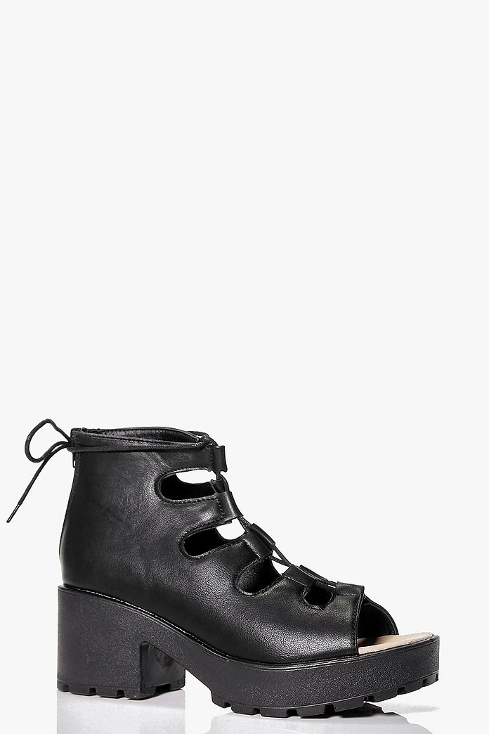Hollie Cleated Peeptoe Lace Up Sandal