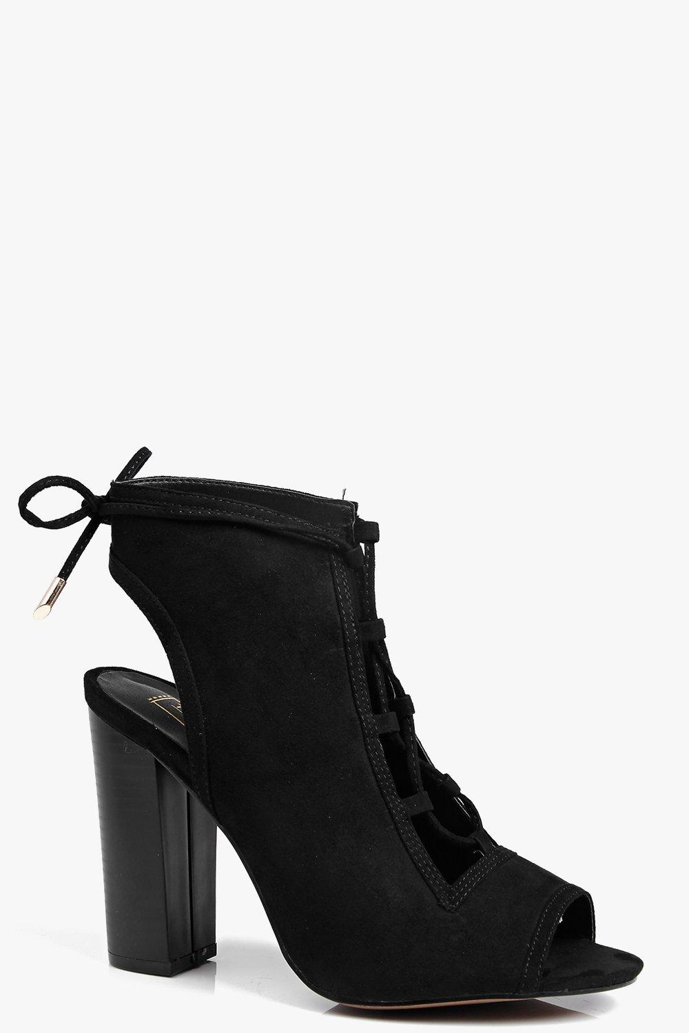 Lauren Lace Up Peeptoe Shoe Boot