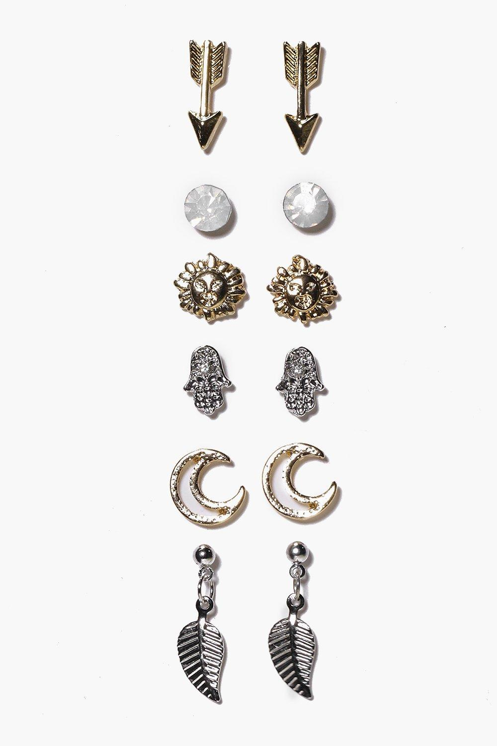 Arrow And Moon Mixed Stud Earring Set - multi