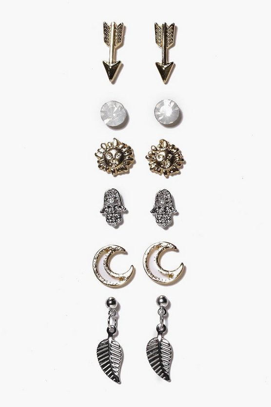 Arrow And Moon Mixed Stud Earring Set