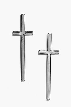 Ruby Oversize Cross Stud Earrings
