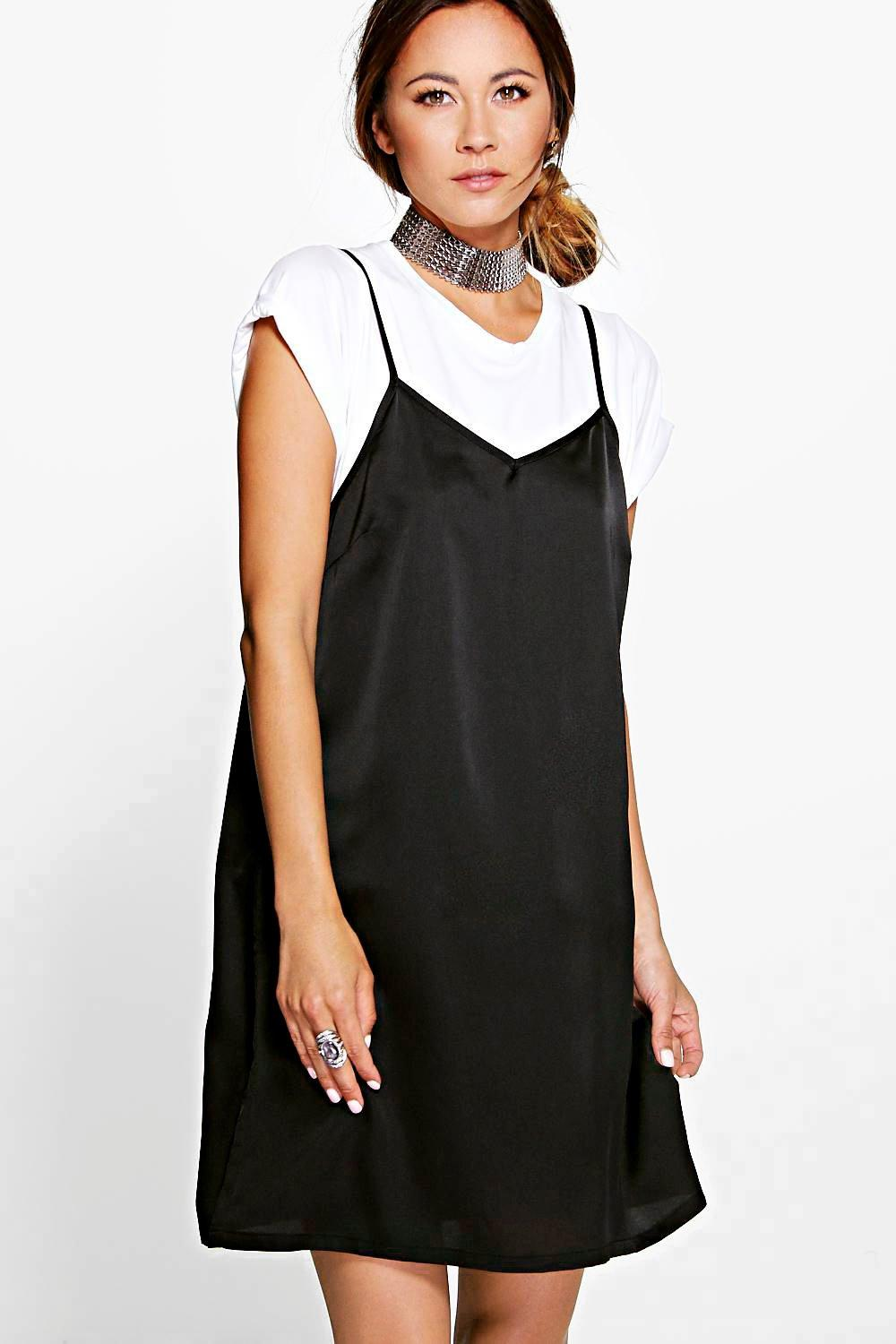 Maisie Satin Strappy Mini Slip Dress