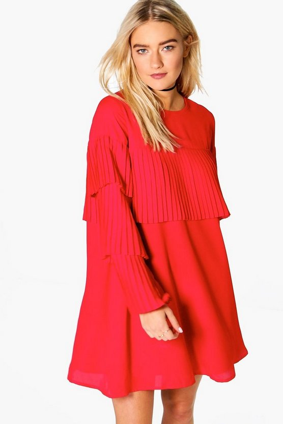 Pleated Frill Detail Shift Dress
