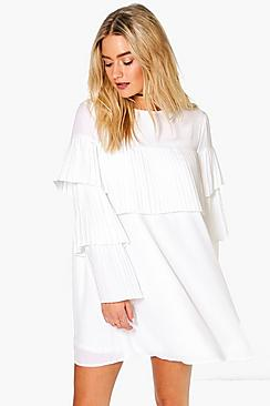 Lara Pleated Frill Detail Shift Dress