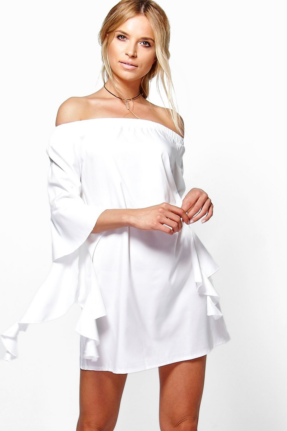 Discount Geniue Stockist Boohoo Off The Shoulder Flute Sleeve Shift Dress Best Wholesale Sale Online Buy Cheap Fast Delivery M3IjXg