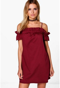 Fi Ruched Strappy Off Shoulder Shift Dress