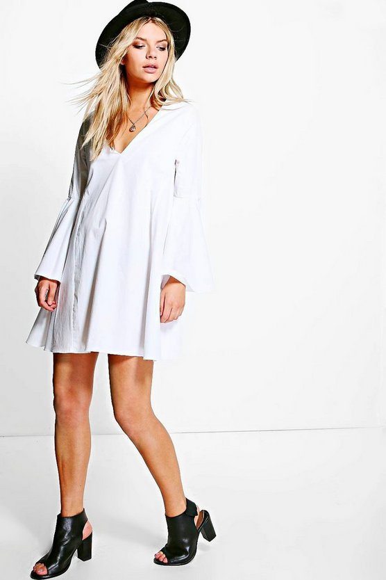 Pascale Flared Sleeve V Neck Shift Dress