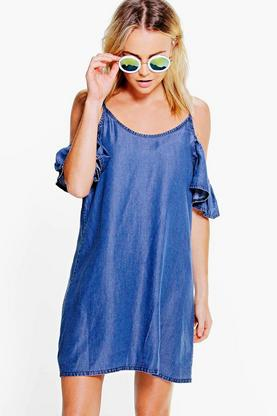 Jennie Off The Shoulder Frill Denim Dress