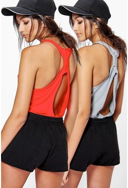 Poppy Fit Twist Back Running Vest 2 Pack