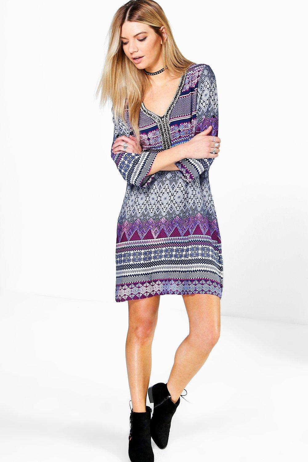Orlaith Tribal Embellished Shift Dress