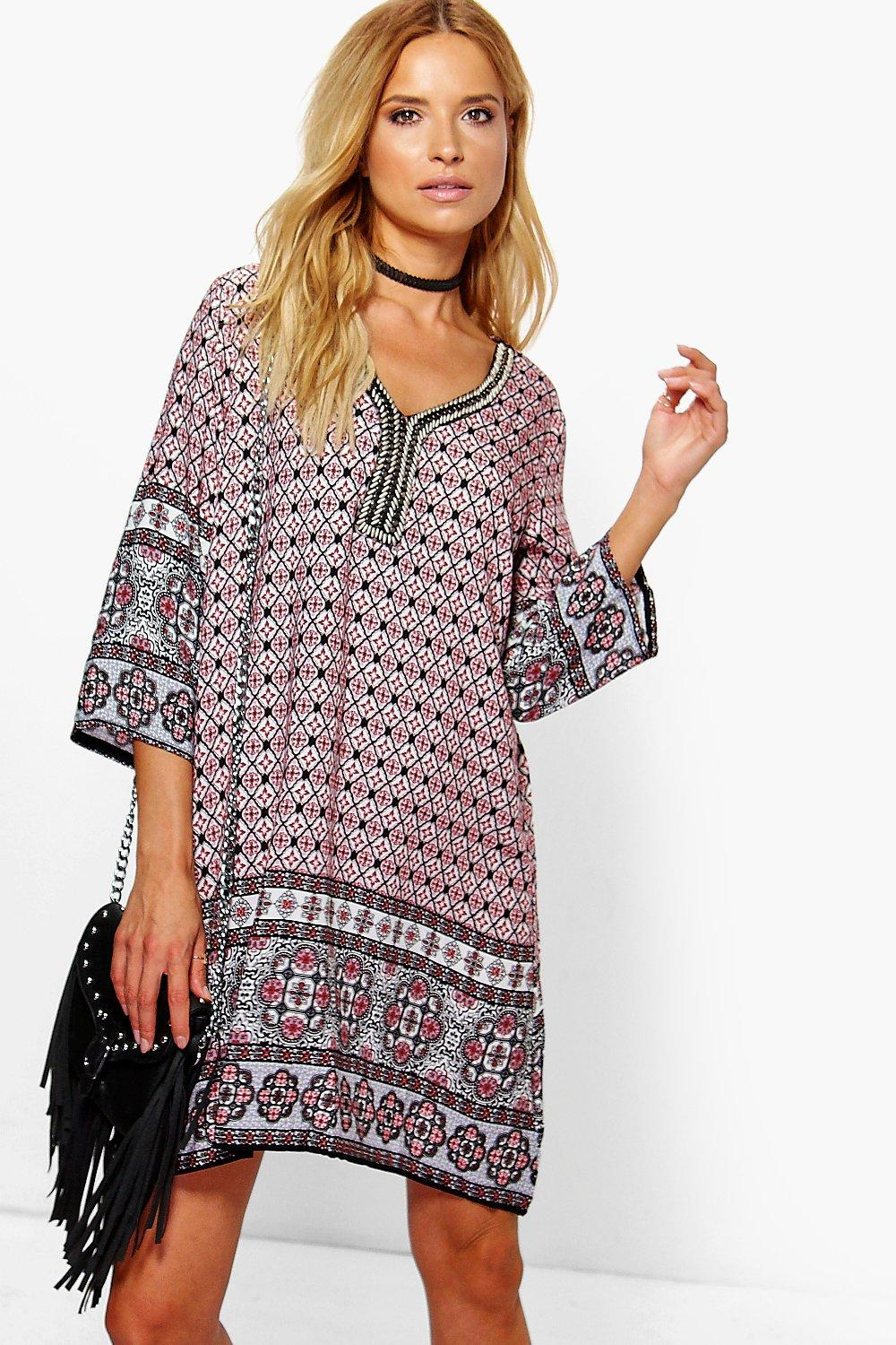 Rebecca Tile Boarder Print Embellished Dress