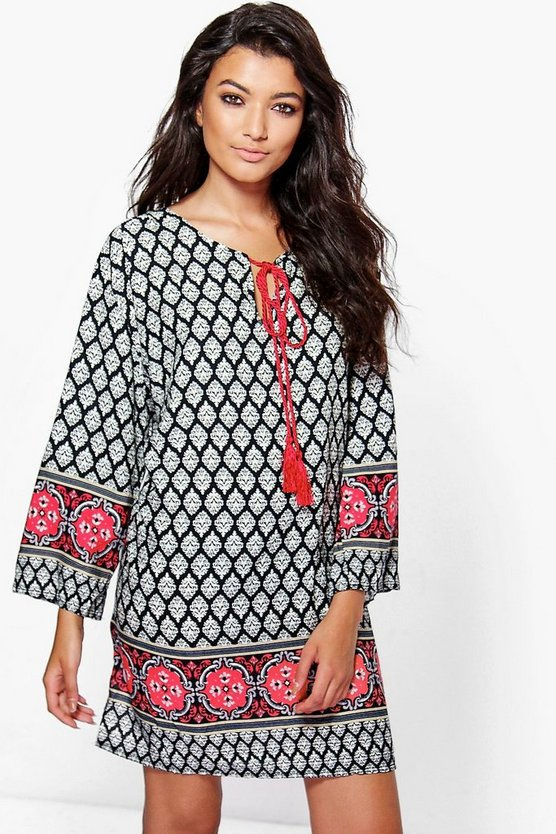 Jackson Tassle Boarder Print Shift Dress