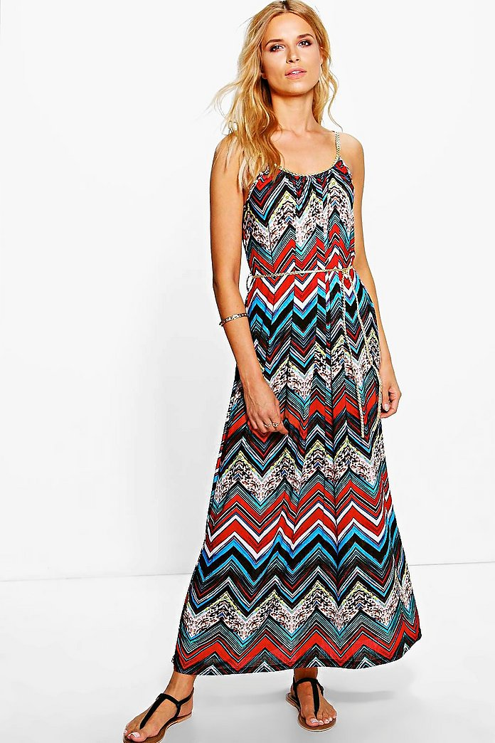 Geraldine Zig Zag Maxi Dress